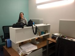 Shawna Davis shows off her new office.