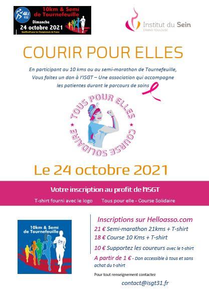 COURIR POUR ELLES – Course Solidaire – 10 kms et semi marathon – Tournefeuille le 24/10/2021.