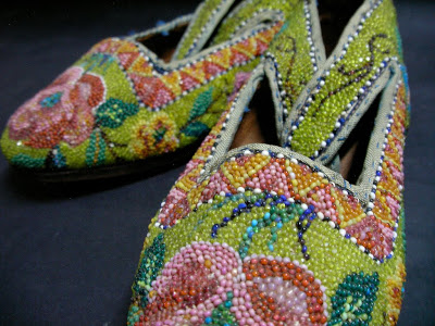 Peranakan beaded slippers green