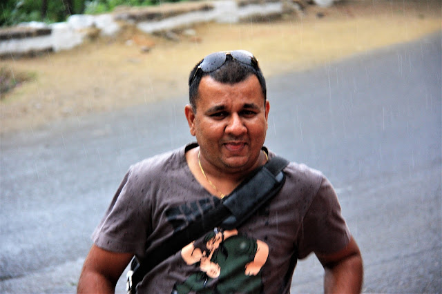 Dhiren Shah enjoying rains in Solan