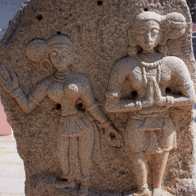 Hairstyles in Ancient Indian Sculptures from museum in Hampi