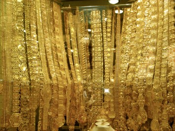 Gold 'just' hanging in one of the shops in Gold Souq