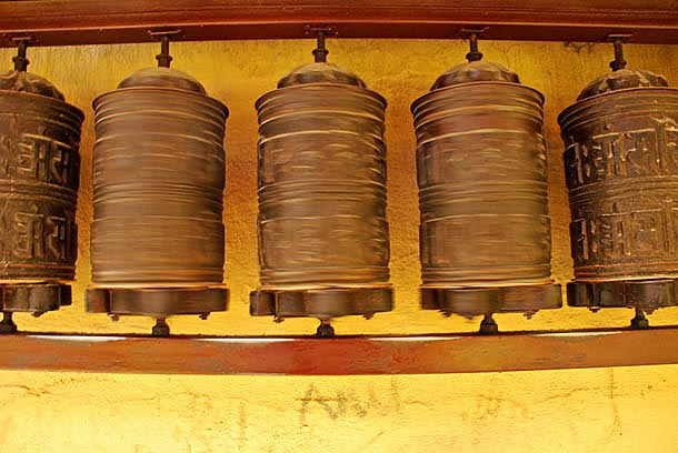 The auspiscious prayer wheels
