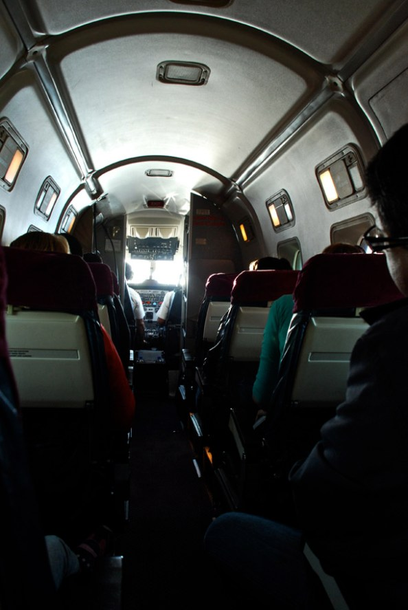 Inside the 19-seater plane