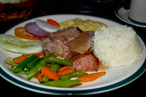 Grilled Pork, Sautéed Vegetables,
