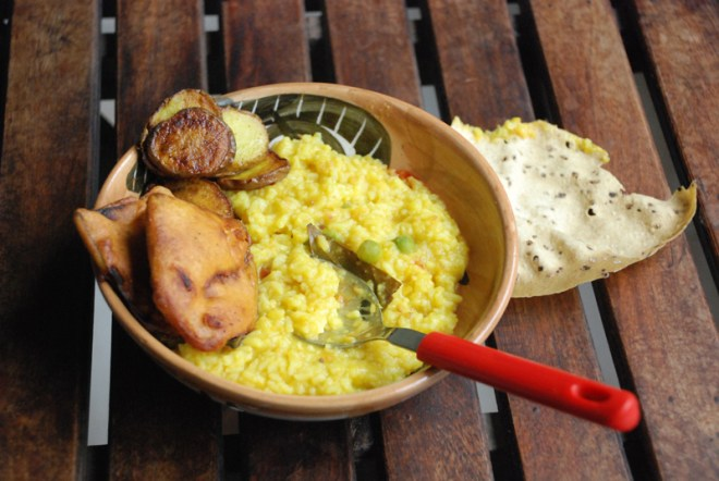 Khichuri with all fritters