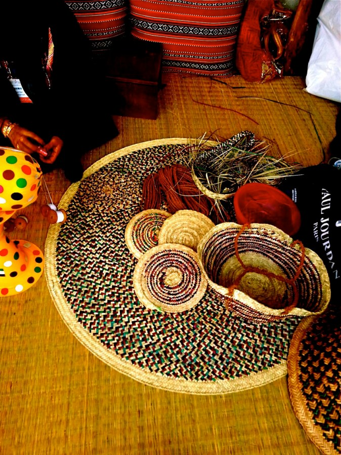 Traditional handicrafts from coloured Palm leaves