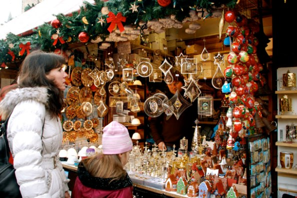 A shop selling traditional wind chimes in the Christmas market
