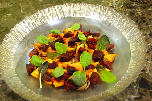 Roast Summer Squash, Baby Beetroot, red Onions in Harissa dressing and Pumpkin seeds