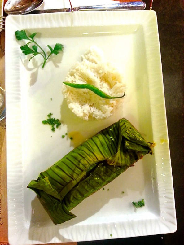 The Gourmet Main Course - Mustard Salmon wrapped in Banana leaf