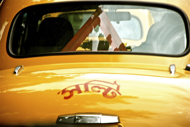 Yellow ambassador taxi in Kolkata