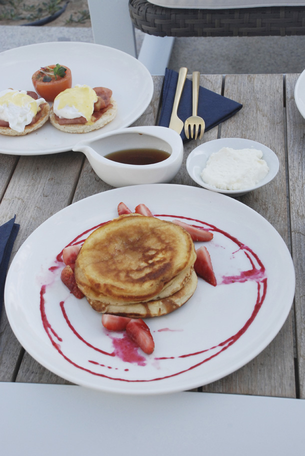 Pancakes at the patio for breakfast