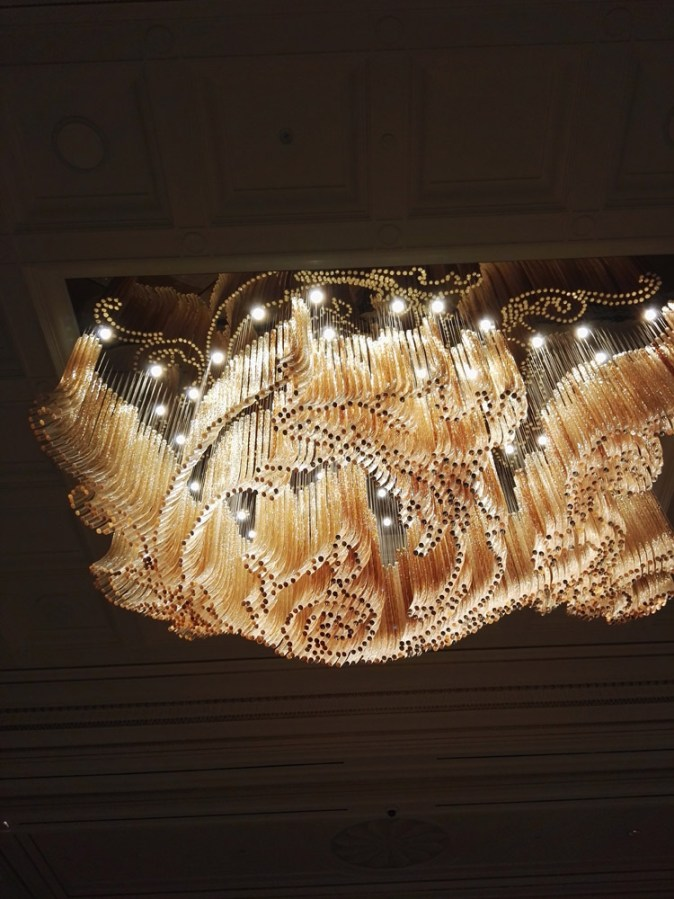 A lot of beautiful visuals, forms and textures playing in my mind that night... starting with the dramatic dining experience at Enigma... Quique's mastery in mesmerizing the diner... to this incredible chandelier in the lobby which was created in acrylic and not crystal, I was told!