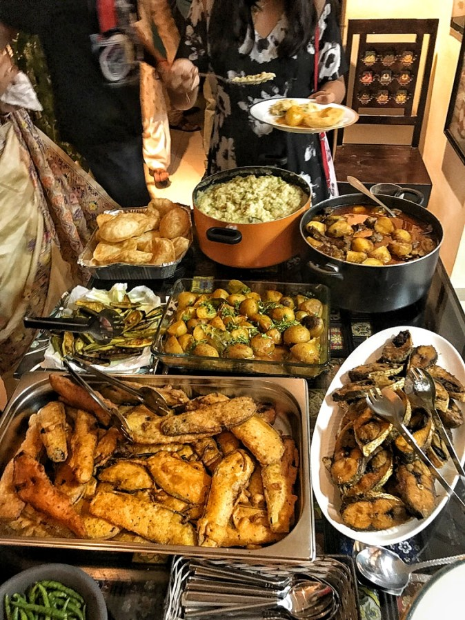 Traditional Bengali dinner specially created for the Pujo