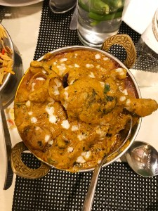 Mughlai food in The Mughal Darbar restaurant in Agra