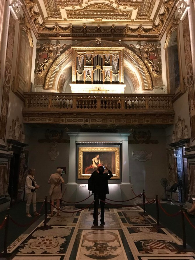 Caravaggio's work Saint Jerome Writing (1607–1608) inside the oratory of St. John's Co-Cathedral