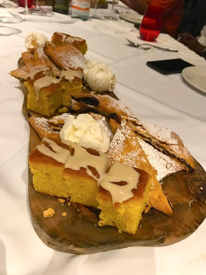 Traditional Imqaret and lemon cake served with icecream