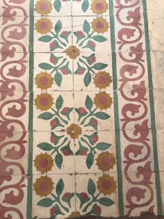 Decorative mosaic floor inside the boutique