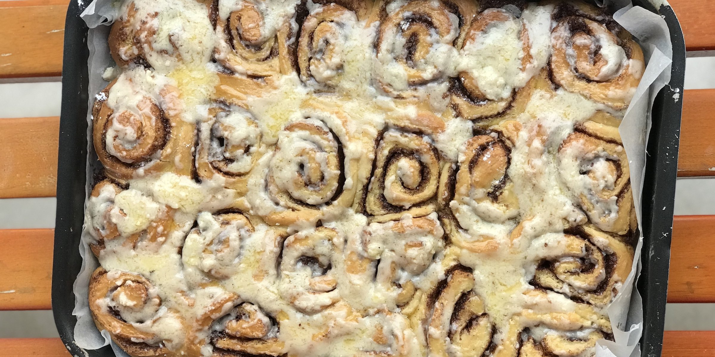 Homemade cinnamon rolls following recipe of Tastes of Lizzy T