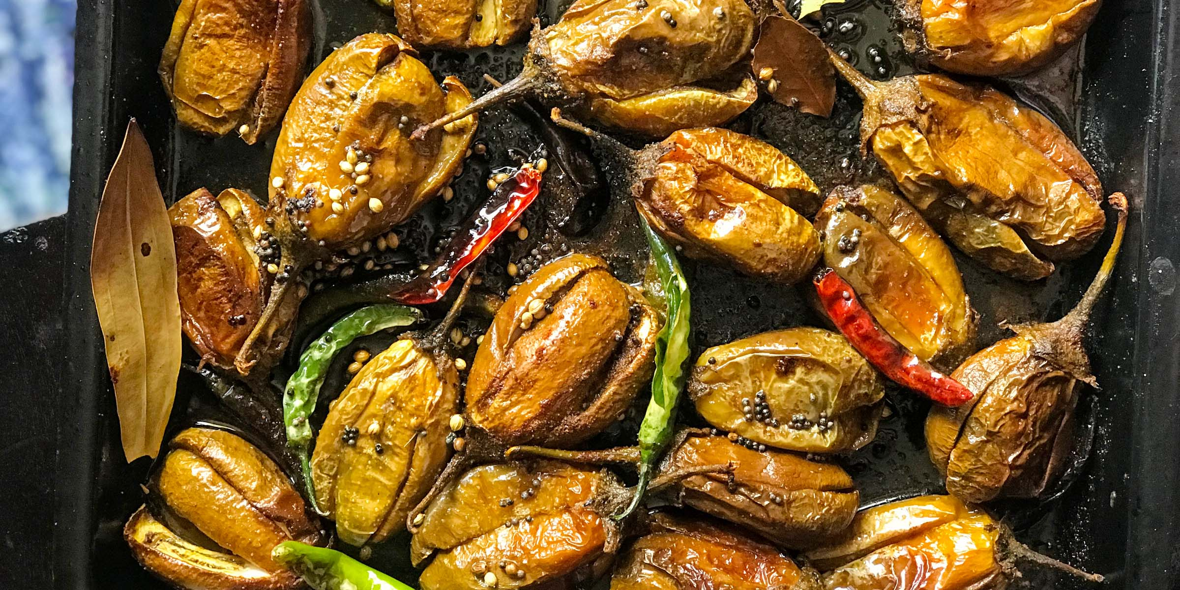 Grilled eggplant in tempered spices