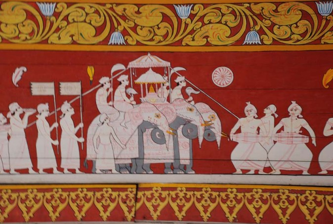 Alfresco painting on the ceilin gof Temple of the Tooth Relic