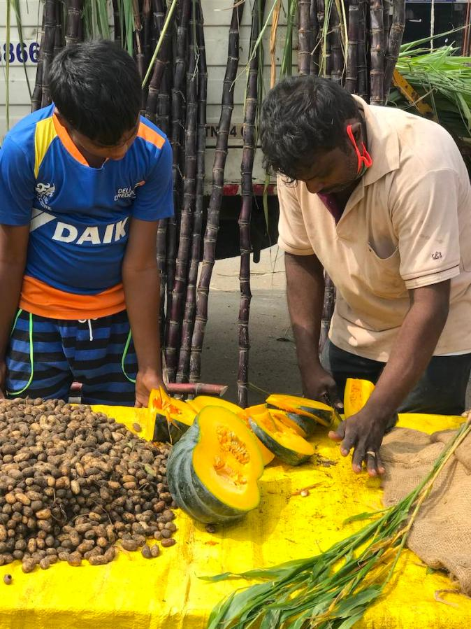 Pumpkins and peanuts sold during Pongal