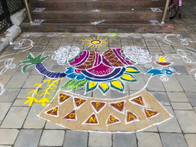 A colourful Kolam design for Pongal