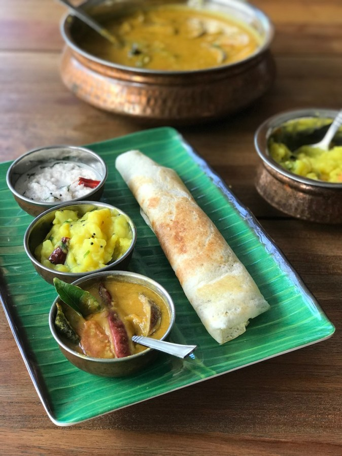 Homemade dosa with sambar and chutney