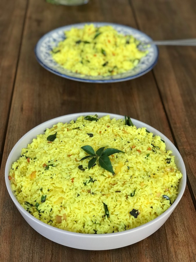 Lemon rice cooked at home