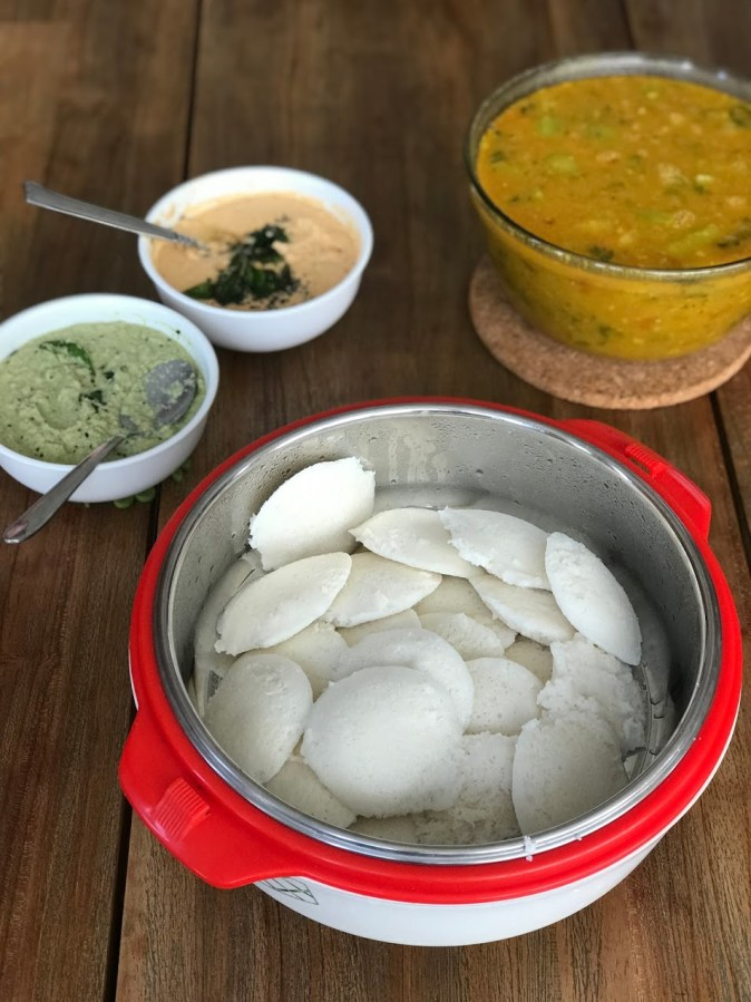 Homemade Idlis with sambar and coconut chutney