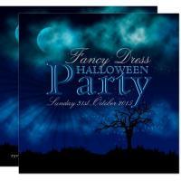Midnight Blue Night Sky Halloween Invitation