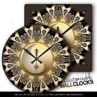 Black Gold Lace Mandala Balance Wall Clock