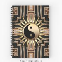 Black Gold ArtDeco NewAge Spiral Notebooks