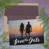 Geometry Save the Date Overlay Couple Photo Card