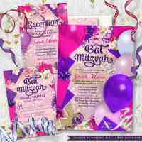 Pink Purple Bat Mitzvah Invitation