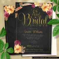 Bohemian Chalkboard Gold Bridal Shower Invitation