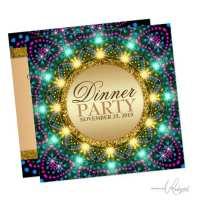 Bohemian Night Lights Dinner Party Invitation