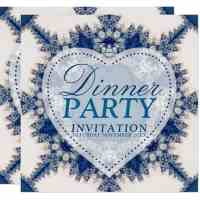 Country Blue Boho Chic Dinner Party Invitation