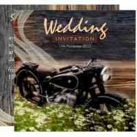 Rustic Vintage Motorbike Wedding Invitation