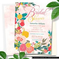 Wildflowers Floral Bridal Shower Invitation