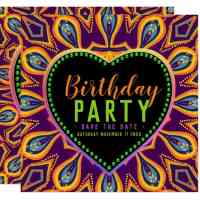 Orange Purple Hippie Bohemian Party Invitation Cards