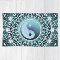 Tranquility Yin Yang Aqua Mandala Floor Rug