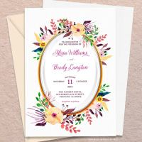 Oval Watercolor Flowers Wedding Invitation