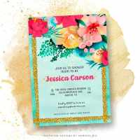 Modern Floral Baby Shower Invitation Cards