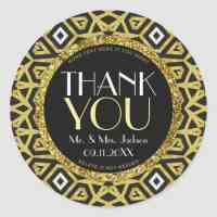 Gold Black Personalised Wedding Thank You Stickers