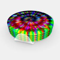 Psychedelic Rainbow Swirl Groovy Table Decor Coaster Set