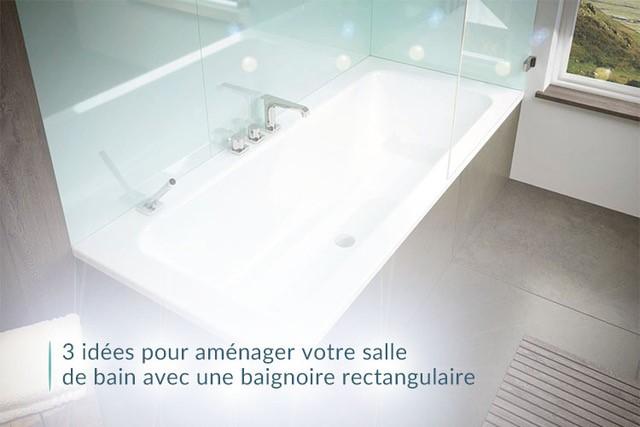 bain avec une baignoire rectangulaire