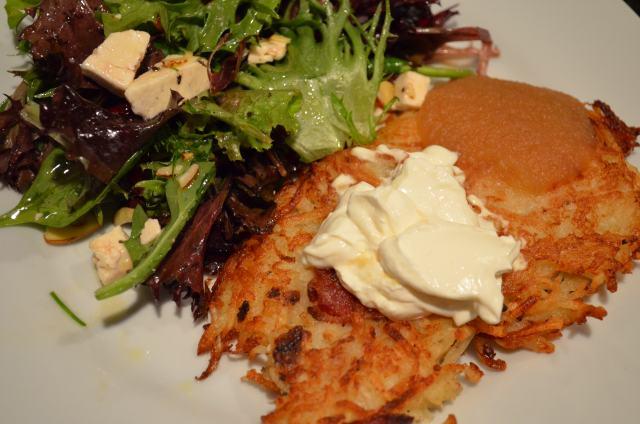 Potato Pancakes With Cranberry, Feta And Almond Salad