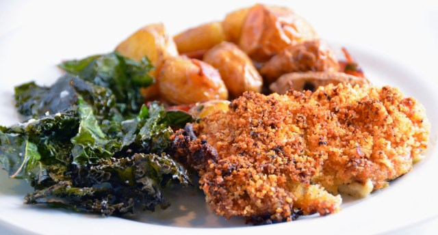 Crispy Mustard-Roasted Chicken. Crispy English Potatoes. Crispy Roasted Kale.