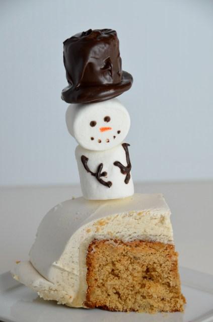 Ginger Wine Fruitcake With Marshmallow Snowmen